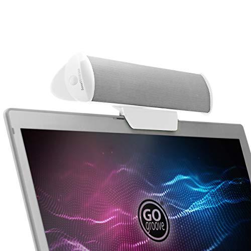 GOgroove SonaVERSE Altavoces USB para Computadora Portátil - Mini Barra De Sonido Alimentada por USB con Diseño De Altavoz Externo con Clip para Monitor, Un Cable para Audio Y Alimentación (Bl