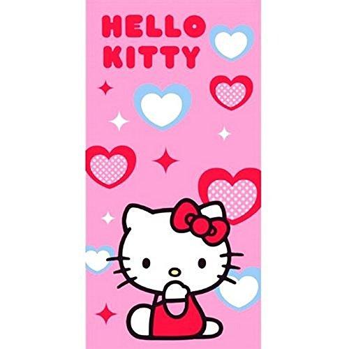 Toalla de Playa Hello Kitty 'Corazones Azules y Rojos' 75X150
