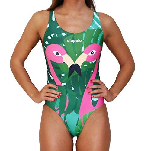Diapolo Flamingo Professioneller Schwimmanzug Badeanzug Damen Figurbetonter Einteiler Schwimmbekleidung Badekleid Badesache Bademode ohne Bügel (XL)