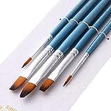 LLZIYAN 5 Pcs/Set Poignée En Bois Peinture Brosses Huile Aquarelle Peinture Brosse Multifonction Nail Art Outil, Bleu