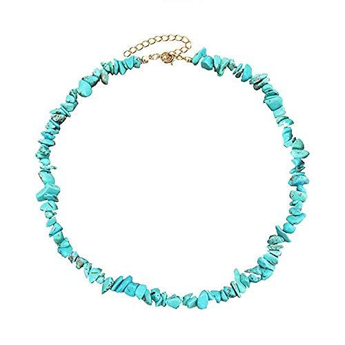 Mingjun - Collana girocollo in turchese fatta a mano, regolabile, con pietra estiva, per donne e ragazze