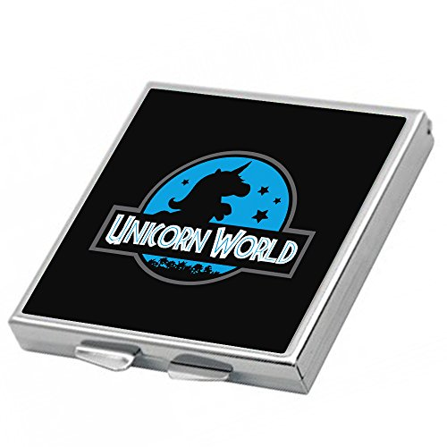 Espejo Unicorn World. Parodia Jurassic World. Regalo San Valentín, día de la madre, cumpleaños, aniversario. Espejo de bolso. Espejo friki.