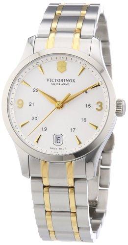 Victorinox Swiss Army Classic Alliance 241543 - Reloj analógico de cuarzo para mujer, correa de acero inoxidable color plateado (agujas luminiscentes, cifras luminiscentes)
