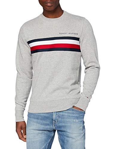 Tommy Hilfiger Herren Hilfiger Logo Sweatshirt Pullover, Grey, L