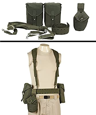 Ultimate Arms Gear Surplus Swedish Combat Cross Chest Rig Carrying Equipment Load Bearing Canteen Ammo Mag Pouch System with Adjustable Shoulder Straps, Canvas OD Olive Drab Green