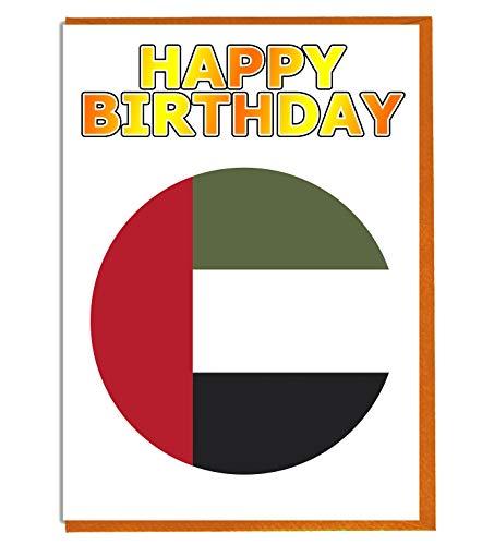 Geburtstagskarte, Motiv: Flagge der Vereinigten Arabischen Arabischen und der Flagge – Freund – Familie – Kollege – Mate – Boss – Loved One