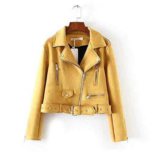 TIKEHAN PU DamenjackeAutumn Women Suede Leather Jacket Women Slim Short Design Faux Leather Jacket Yellow Punk Leather Outwear Coat