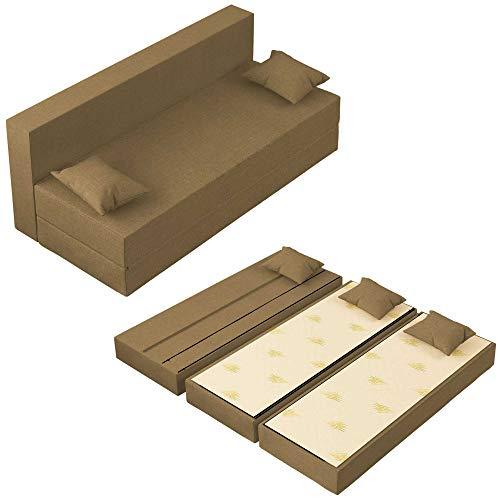 Baldiflex Divano Letto 3 Posti Modello TreTris Rivestimento Sfoderabile e Lavabile, Colore Oro Antico
