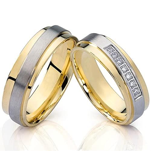 yqs Anillo de Pareja Abrazo 1 par de Anillos de Boda de Matrimonio Chapado en Oro de 18k para Parejas Anillo de Dedo de joyería de Acero Inoxidable (Gem Color : TC001)