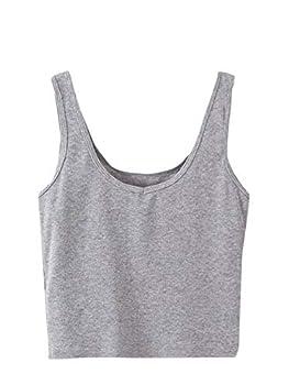 SweatyRocks Women s Sleeveless Casual Ribbed Knit Shirt Basic Crop Tank Top Grey S