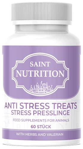 Saint Nutrition NEU Anti Stress Kapseln für Hunde und Katzen, unterstützend bei Panikattacken, innere Unruhe und Angststörungen, Baldrian Beruhigungsmittel hochdosiert