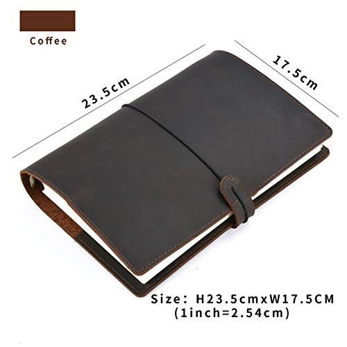 Heng handgemaakte vintage ringen bindmiddel notebook dagelijkse planner dagboek schetsboek voor het tekenen van briefpapier producten, A5 koffie