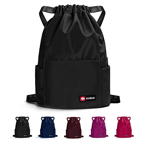 Waterproof Drawstring Gym Backpack Bag for Men & Women, Sport Gym Sack Mini Travel Daypack