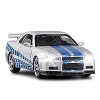 1:32に適用するR34スポーツカー合金おもちゃカービークルスケールカーモデルディスプレイダイキャスティングモデルカーボーイトイギフトコレクション ダイキャストカー (Color : 2)