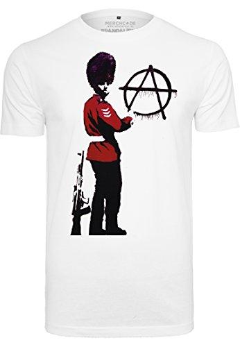 MERCHCODE Banksy Anarchy Tee T-Shirt Homme, White, XL