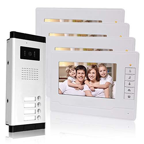 KDL Cableado Sistema de teléfono de puerta de video de 7 pulgadas 4 monitors 700TVL con 1 cámara exterior con cuatro botones de llamada, Visión nocturna por IR para multi-apartamentos/Las familias