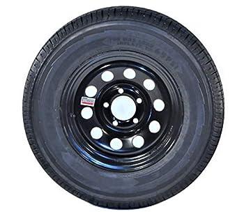 2-Pk Trailer Tire On Black Wheel Modular Rim ST205/75D15 LRC 5 Lug On 4.5 15 x 5