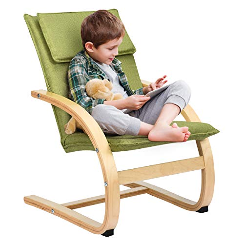 COSTWAY Kindersessel Birke, Kinder Schwingsessel Schaukelstuhl Schaukelsessel Kinderstuhl Holz Relaxsessel Kindermöbel belastbar bis 120kg