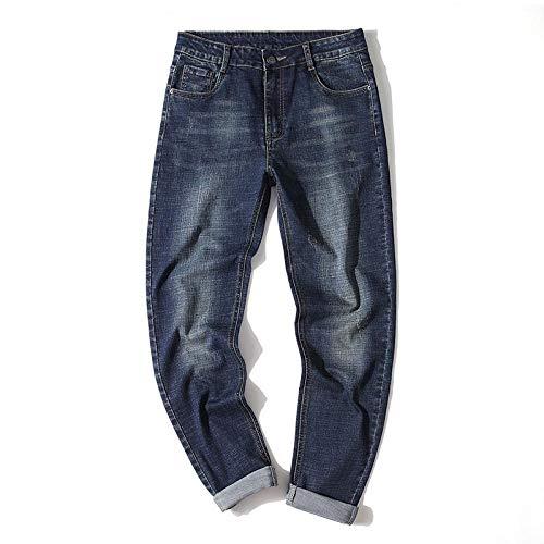 Vaqueros Primavera Otoño Invierno Nuevos Pantalones Vaqueros Elásticos Ajustados para Hombre Estilo Clásico Vintage Viejo Algodón Denim Pantalones Rectos Pequeños Hombre 33 Azul