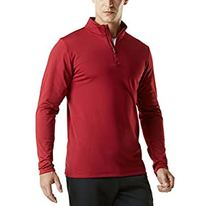 Fashion Shopping TSLA Men's Quarter Zip Thermal Pullover Shirts, Winter Fleece Lined Lightweight