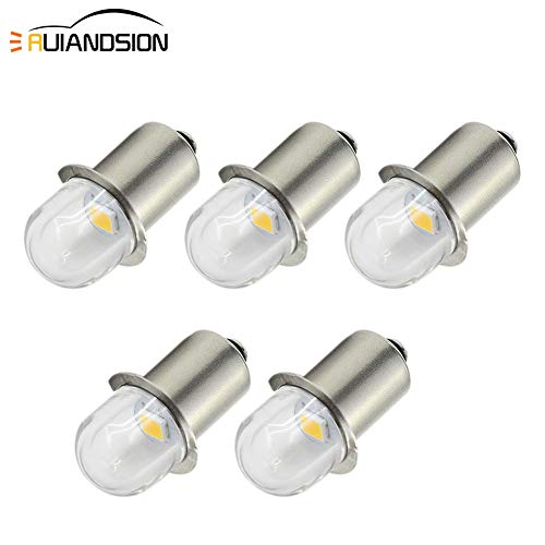 Ruiandsion P13.5S - Bombillas LED de repuesto para linterna frontal (5 unidades, luz blanca cálida, 3 V/6 V) 0.48W 6.00V