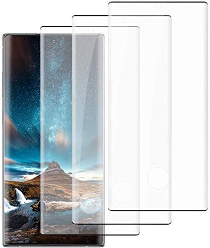 Price comparison product image [3 Pack] Galaxy Note 10 Plus Screen Protector,  [Fingerprint Recognition] Complete 3D Curved Edge HD Screen Protector [9H Hardness] [Easy Installation] Suitablefor Samsung Galaxy Note 10 Plus