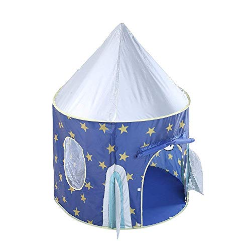 ZTBXQ Sports Fitness Equipment tent Children Space Pop Up Play House Toy Star Rocket Castle Playhouse Cute Foldable Princess Large Indian Teepee For Boys Girls With Carrying Bag blue Sleeping Dom