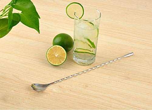 Baanuse Cucchiaio per Mescolare, 31cm Lounge Cucchiaio Miscelatore da Cocktail, Acciaio Inossidabile Cucchiaio da Barista