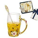 JLTPH - Tazza da tè in vetro smaltato, senza piombo, con panno per la pulizia del cucchiaio, tazza da tè con manico elaborato, per donne, compleanno, San Valentino, matrimonio, festa della mamma