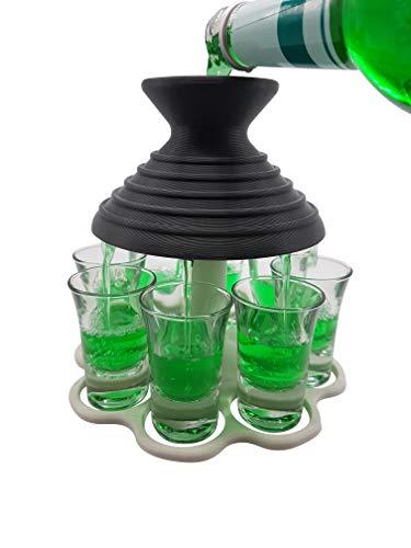 Schnapsschirm® Dein schneller Schnapsausgießer für 8 Pinnchen gleichzeitig Gadget Party Geschenkidee (mit Gläser, Anthrazit/Weiß)