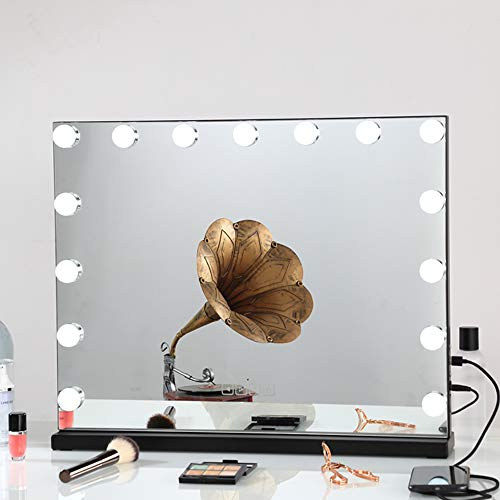 FENCHILIN Large Vanity Mirror with Lights and Blutooth Speaker, Hollywood Lighted Makeup Mirror with 15 Dimmable LED Bulbs for Dressing Room & Bedroom, Tabletop or Wall-Mounted, Slim Metal Frame