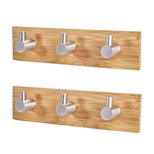 MOPOIN Hakenleiste Holz, 2 Stück Selbstklebende Haken Edelstahl und Bambus Wandhaken Selbstklebend, Klebehaken für Wohnzimmer, Küche, Badezimmer, Schlafzimmer