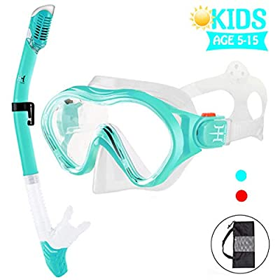 Kids Snorkel Set,HHAO Sport Dry Top Snorkel Mask Scuba Snorkeling Gear Anti-Leak Impact Resistant Panoramic Tempered Glass Easy-Breath Snorkeling Packages Freediving Gear for Youth Boys and Girls