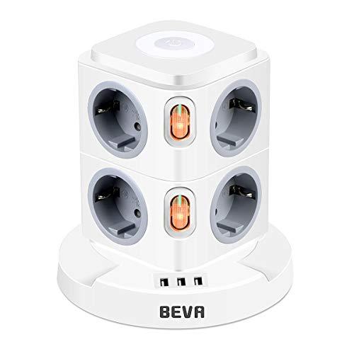BEVA 8 Fach Mehrfachsteckdose mit 3 USB Steckdosenleiste mit Dimmbarem Nachtlicht Steckdosenturm (2500W/10A) Multi Steckdosen Steckerleiste, Überspannungsschutz (mit 2 Schalter und 2m Kabel)