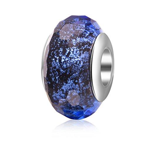 Hoobeads - Abalorio de cristal de Murano transparente, plata de ley 925, con núcleo facetado, para pulsera europea