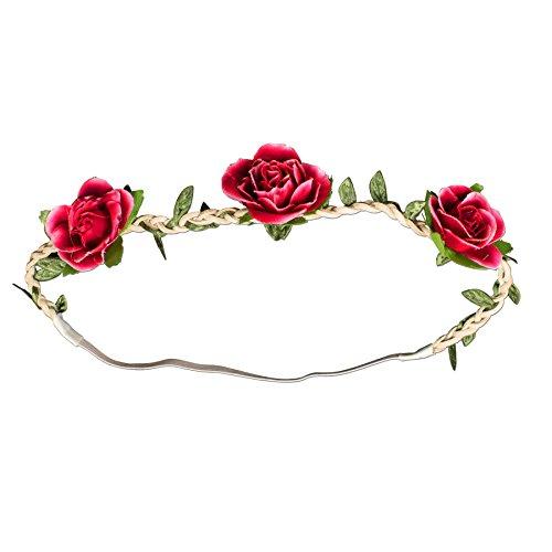 Alpenflüstern Trachten-Haarband Rosen-Blüten rot ADV103
