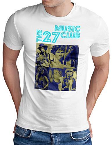 OM3® The-27-Music-Club T-Shirt | Herren | RIP Great Musicans Vintage | Weiß, L