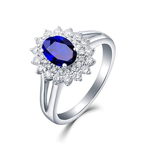 AueDsa Ring Blue Silver 18K White Gold Rings for Women Sunflower Ring with Oval Topaz 0.6ct Ring Size L 1/2