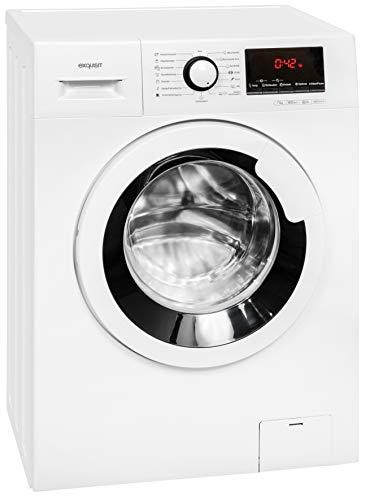 Exquisit Waschmaschine WA 7014-1 | Nennkapazität: 7 kg | max. Schleuderdrehzahl: 1400 U. Min. | Startzeitvorwahl | Restlaufzeitanzeige | Weiß
