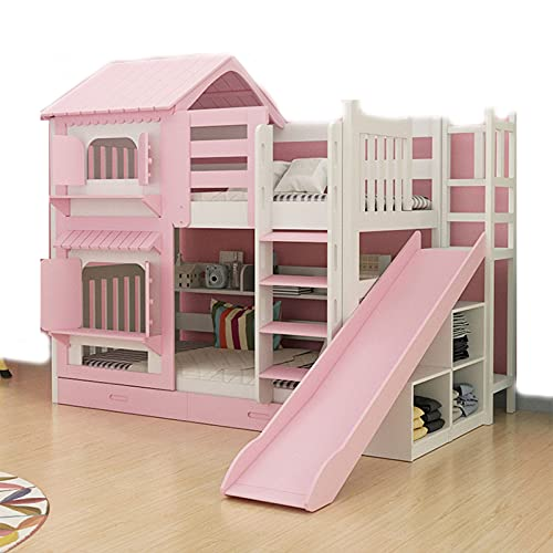 HXXXIN Bunk Bed, Children's Upper And Lower Double Bunk Bed, High And Low Bed, Wooden Bed, Two-Layer Multifunctional Combination Castle Bed,Pink