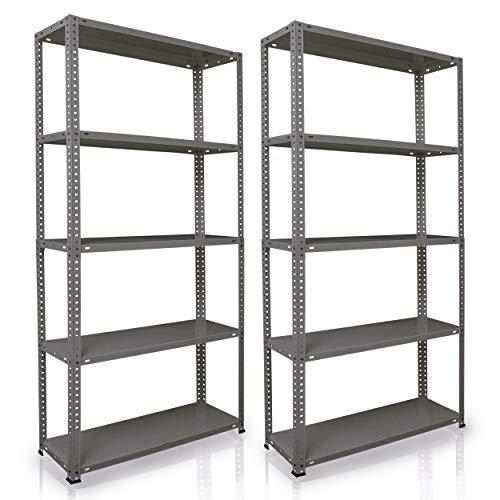 NAWA Home & Work Estantes de almacenamiento, pack de 2 estanterías para el sótano/estantería para taller/estantería para garaje, estantería práctica y versátil (180x90x30Grey) PACK-EST180GR
