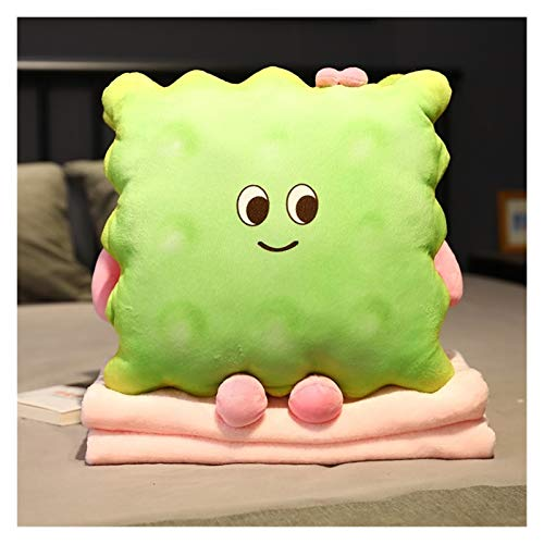 Changskj Stofftier 18/35 cm Cartoon Plüsch Kekscreme Matcha Schokolade Gefüllte Keks Snack Essen Spielzeug Dekor Nickerchen Kissen (Color : Green, Height : 35cm Without Blanket)