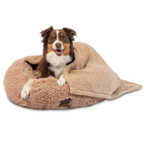 Pet Craft Supply Ultra Soft Plush Calming Medium Small Breed Dog and Cat Bed with Ultra Soft Bonus Blanket, Cream (8734)