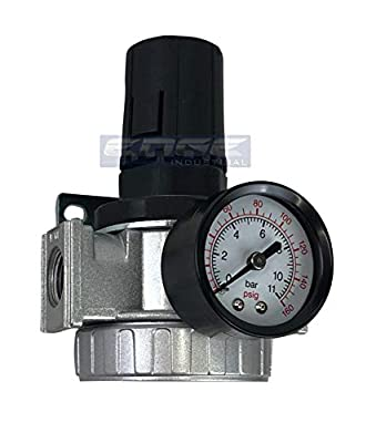 Industrial Rated Mid Flow Air Pressure Regulator For Compressed Air, Adjustable From 7 To 145 Psi, Reduce Air Flow To Air Tools from THB_ei