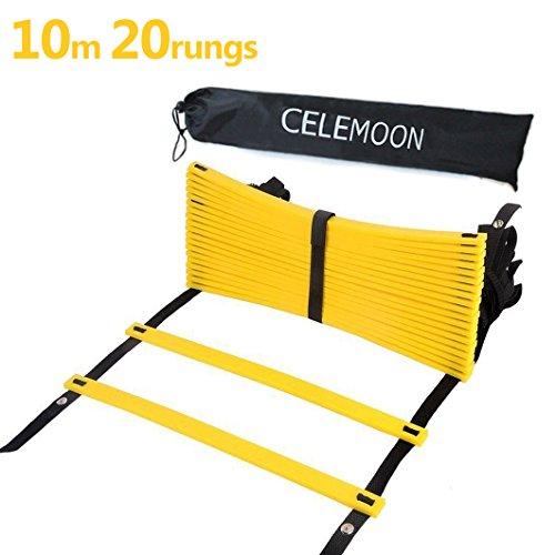 CELEMOON Escalera actualizada de material para agilidad, velocidad, formación + funda de transporte color negro, con conexión de encaje, ideal para el fútbol, fútbol americano, el entrenamiento..., 10m-20rungs