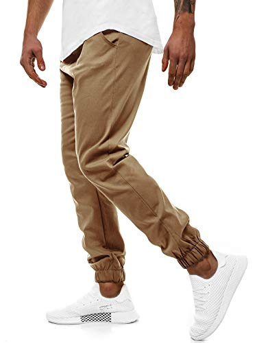 OZONEE Herren Chino Hose Chinos Lang Stoffhose Jogger Chinohose Pants Cargohose Cargo Freizeithose Arbeitshose Sporthose Slim Fit Regular Casual Stretch Taschen Athletic 399 Camel L