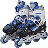 KIZZIE INTERNATIONAL Inline Skates Size Adjustable All Pure PU Strong Wheels Aluminium with LED Flash Light on Wheels, Age Group 6-15 Years [Multi Color-Skating] (Inline Skate)