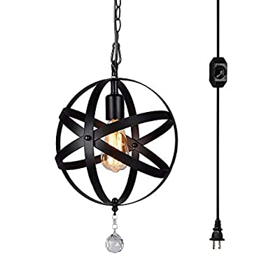 HMVPL Plug-In Industrial Globe Pendant Lights with 15 Ft Hanging Cord and Dimmable On/Off Switch, Vintage Metal Spherical Lantern Chandelier Ceiling Light Fixture