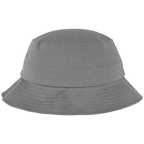 Flexfit Cotton Twill Bucket Hat - Unisex Anglerhut für Damen und Herren, einfarbig, mit patentiertem Flexfit Band, Farbe Grau, one size