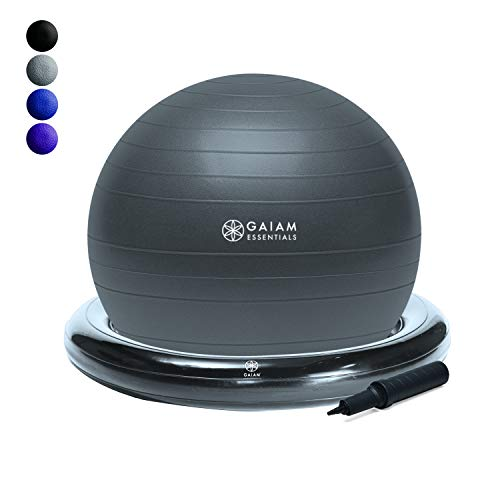 Gaiam Essentials Balance Ball & Base Kit, 65cm Yoga Ball Chair, Exercise Ball with Inflatable Ring Base for Home or Office Desk, Includes Air Pump - Grey